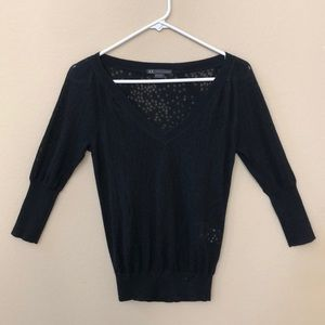 AX Armani Exchange Burn Out Knit Sweater Top